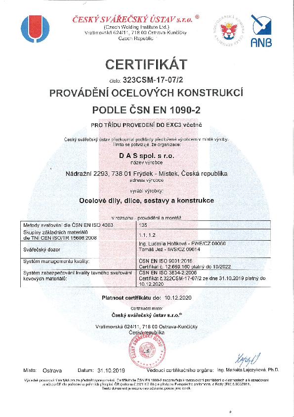 Certifikát provádení ocelových konstrukcí podle 1090-2ČSN EN