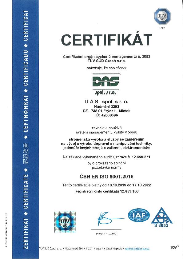 Certifikát systému managementu kvalitu v oboru strojírenksá výroba podle ČSN EN ISO 9001:2016