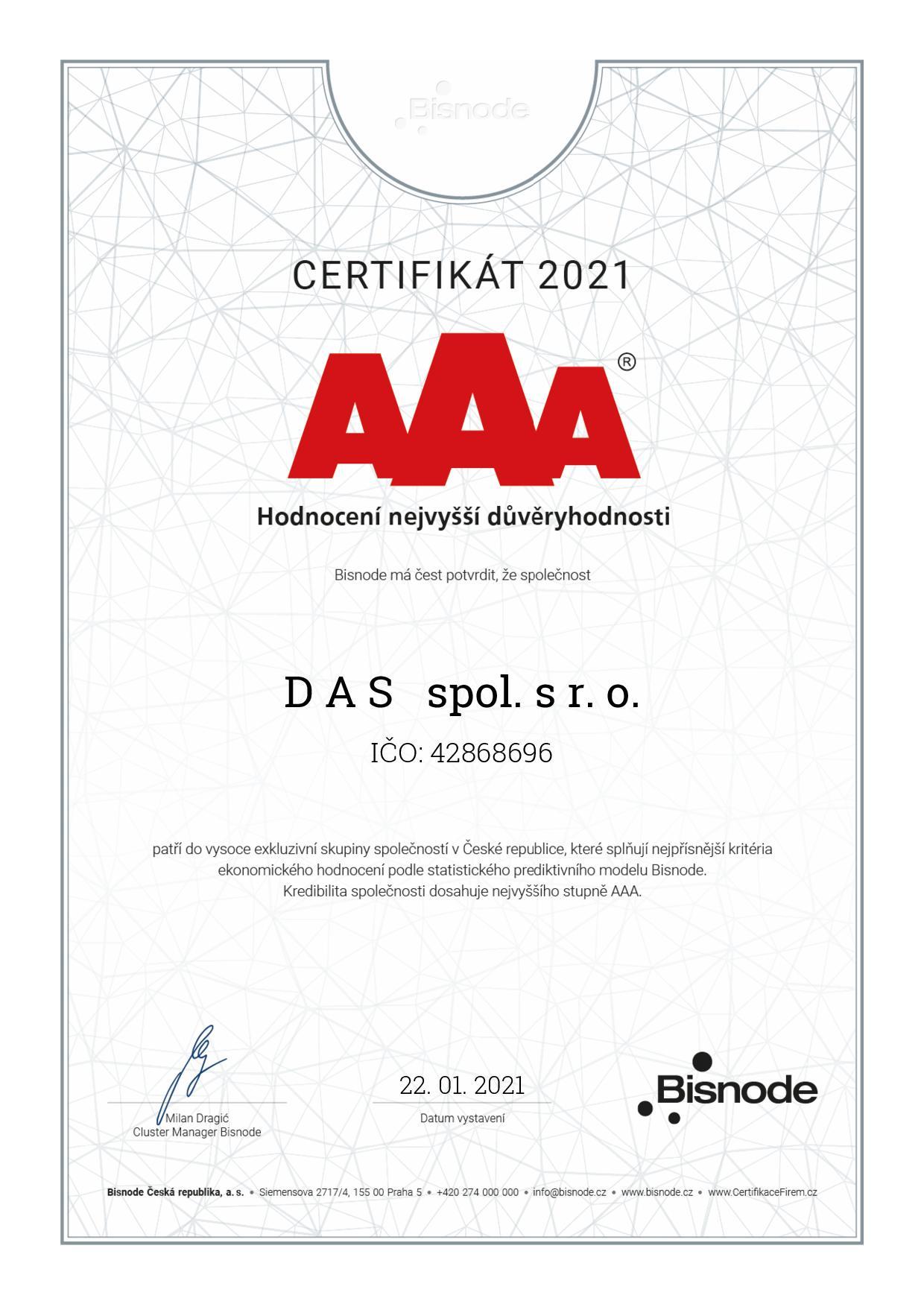 Certifikát Nejvyšší důvěryhodnosti AAA Bisnode