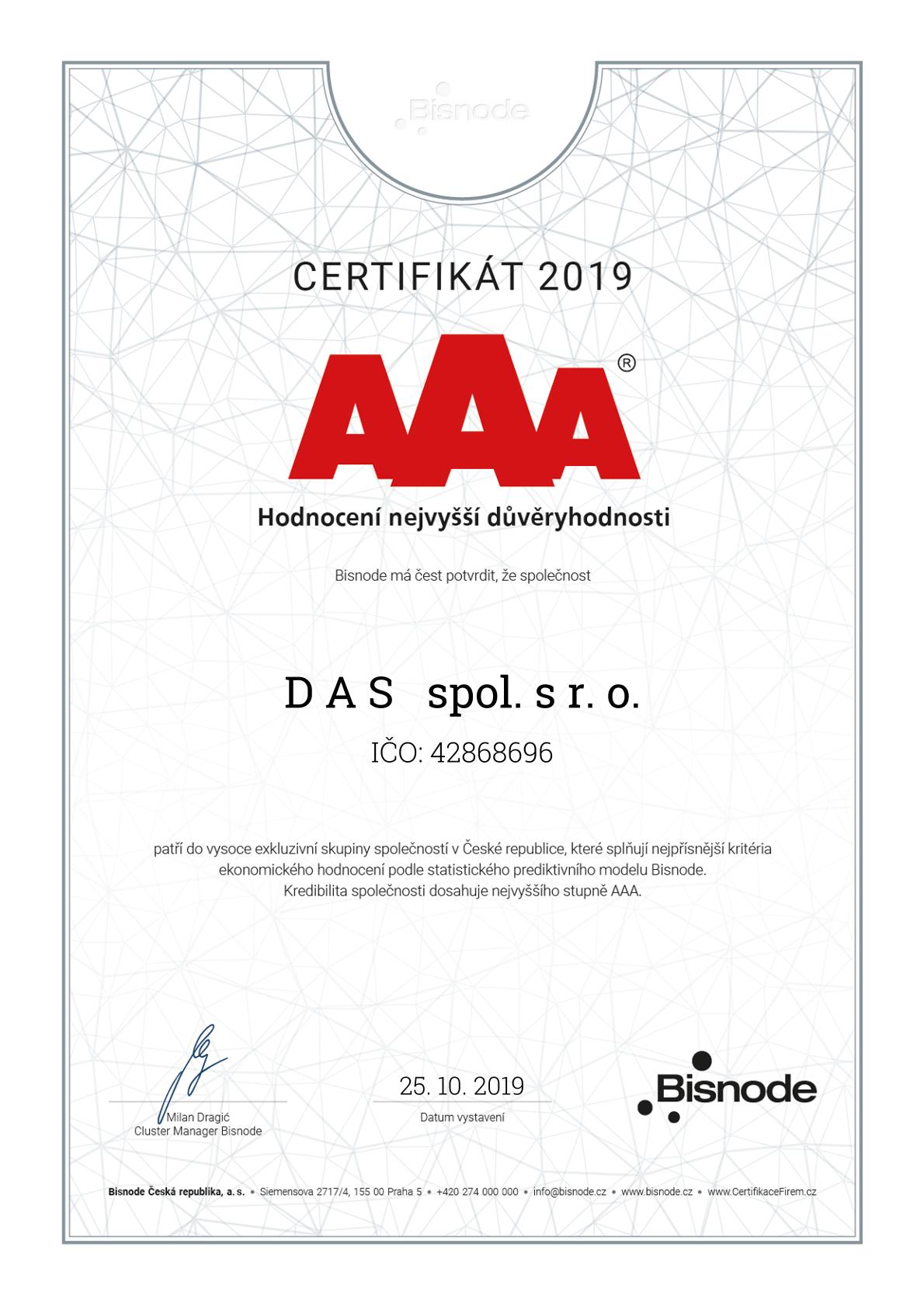 Certifikát Nejvyšší důvěryhodnosti AAA Bisnode pro DAS